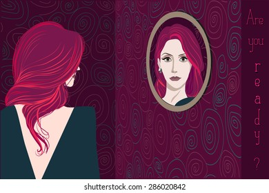 A woman with long burgundy hair wearing dark evening dress looking in the mirror. Back view. 'Are you ready?' inscription.