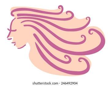 Woman with long curly purple hair