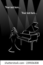 woman in long dress near piano under border lights border lights abstract outline in black and white with place for text. Vector illustration for musical poster or cover