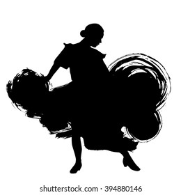 Woman in long dress stay in dancing pose. flamenco dancer Spanish regions of Andalusia, Extremadura Murcia. black silhouette Isolated on white background brush outline sketch. Vector