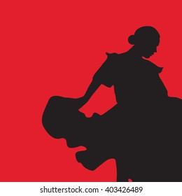 Woman in long dress stay in dancing pose. flamenco dancer, spanish. black silhouette Isolated on red background. Vector
