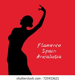 Woman in long dress stay in dancing pose. flamenco dancer, spanish. beautiful female profile black silhouette on red background. Vector