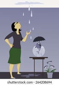 Woman looking at a dripping leak on the ceiling, fish in a bowl holding an umbrella, vector illustration, no transparencies, EPS 8