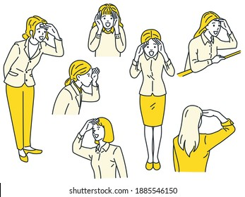 Woman looking forward with hand in forehead, in concept of searching and look to future. Vector illustration character set, outline, linear, thin line art, hand drawn sketch, simple style.