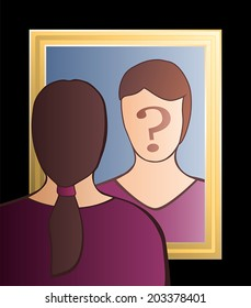 "A woman is looking into the mirror asking herself ""Who am I?"". In her face there is a big question mark to bring ones consciousness into question. Vector illustration."