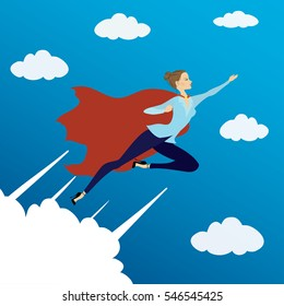 Woman looking like Super hero flying in sky,vector illustration.