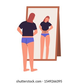 Woman looking at mirror checking if she lost weight. dysmorphophobia, self hate, dissatisfaction with appearance concept. Flat vector illustration