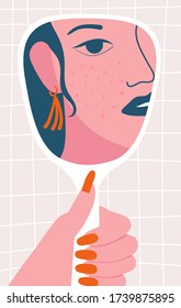 woman looking at the mirror with the trouble on her skin. concept of acne skin problems and harmonic failure