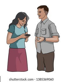 a woman looking at phone and does not paying attention to a man - vector