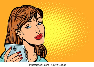 woman looking in smartphone. Pop art retro vector illustration kitsch vintage drawing