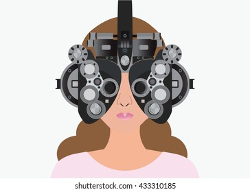 Woman looking through phoropter during eye exam isolated on white background, equipment of test eye for Ophthalmologist, health care Vector illustration.