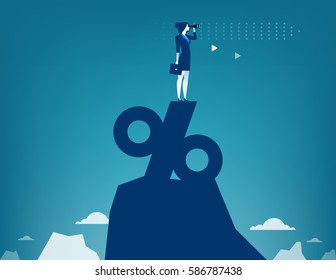 Woman looking through telescope standing on top of percentage sign. Concept business illustration