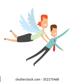 Woman looks like an angel helps businessman. Office angel carries businessman to the top, to success. Businessman wears blue shirt and red necktie. vector illustration