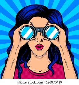 Woman looks through binocular pop art retro vector illustration. Comic book style imitation.