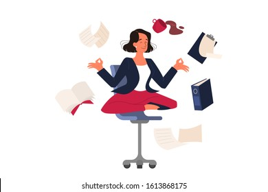 Woman in lotus pose. Employee meditate against stress. Deadline concept. Idea of many work and few time. Flat vector illustration