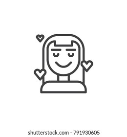 Woman in love line icon, outline vector sign, linear style pictogram isolated on white. Symbol, logo illustration. Editable stroke
