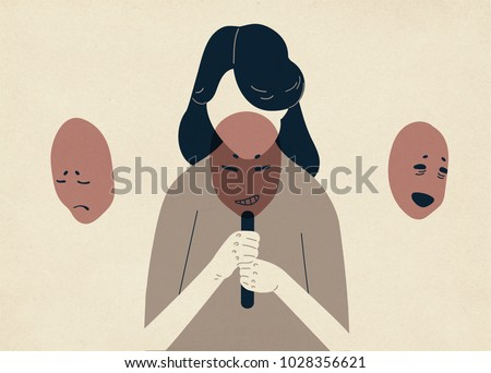 Woman with lowered head covering her face with masks expressing various emotions. Concept of changing natural personality to conform to social requirements and pressure. Colorful vector illustration.