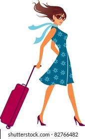 woman with a luggage bag. Vector illustration.