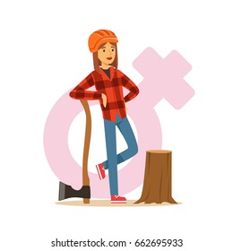 Woman lumberjack in workwear and hard hat standing near stump with axe, female taking on traditional male role colorful character vector Illustration