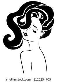Сharming woman with luxurious wavy hair and eyes closed, hand drawing vector for cosmetic products design