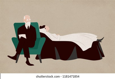 Woman lying on couch and psychiatrist sitting in armchair beside her and asking questions. Dialogue between patient and psychoanalyst. Psychoanalysis and psychotherapy. Flat vector illustration.