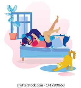 Woman Lying on Sofa and Playing with Cat Cartoon. Flat Girl Having Fun with Black Pussycat and Red Kitten Stretching Back on Floor. Pet Care and Happy Cozy Evening at Home. Vector Illustration