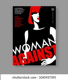 Woman magazine cover. Abstract female portrait in poster style and text Woman Against. Vector illustration