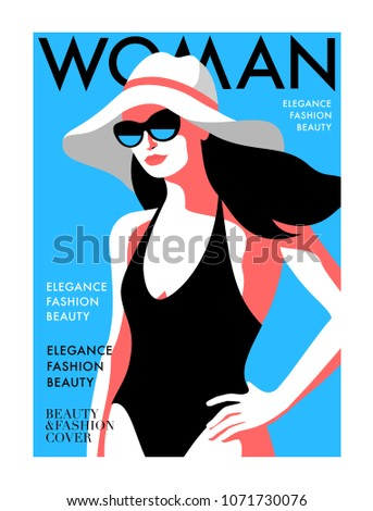 58159c34d8 Woman magazine cover for the summer holiday season. Abstract female  character wearing swimsuit, sunglasses and hat. Vector illustration - Vector