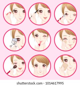 woman with make up concept on the pink background