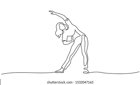 Woman make stretching exercise at fitness. Continuous one line drawing. Vector illustration
