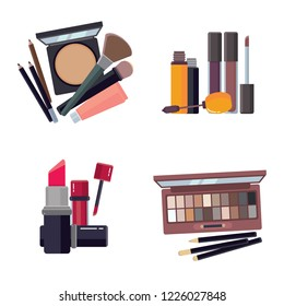 Woman makeup collection. Cosmetic beauty accessories bronzer liquid lipstick nail polish mascara makeup pencil eyelashes powder brushes foundation vector big cartoon set isolated on white background