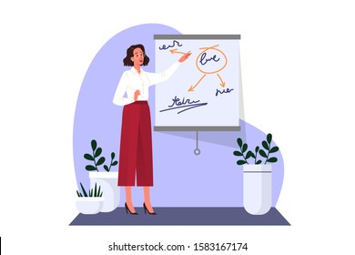Woman making business presentation and pointing at the board. Presenting business plan on seminar. Vector illustration in cartoon style