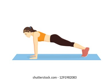 Woman making perfect body with the Full Plank exercise on blue mat. Illustration about Abdominal workout.