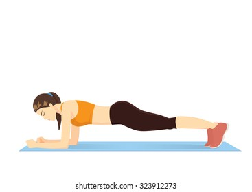 Woman making perfect body with the plank exercise.