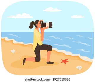 Woman is making photo of landscape. Girl with camera looking through lens at coastline with ocean. Photographer with professional camera conducts photo session of sea. Summer vacation cncept