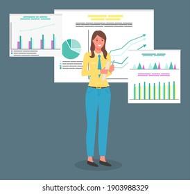 Woman présente l'analyse de l'entreprise, développe la stratégie de vente et la croissance financière.Modèle de planification d'entreprise. Analyse de données image vectorielle illustration ii style de dessin animé