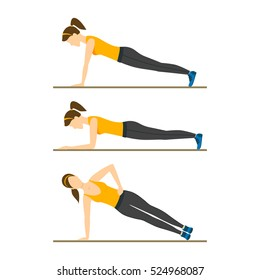 Woman Making Right Plank Position or Posture. Exercise Workout. Flat Design Style Vector illustration
