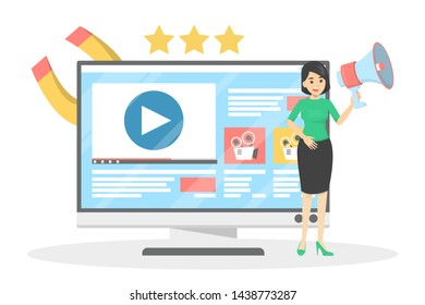 Woman making video blog promotion. Content advertising and audience engagement. Marketing strategy. Vector illustration in cartoon style