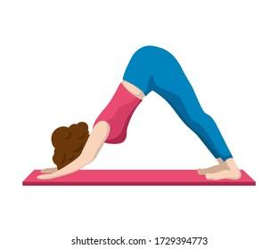 Woman making yoga, vector illustration on white background. Downward facing dog position. Adho Mukha Svasana yoga asana. Slim woman on yogamatt. Modern stretching or fitness programm. Sport class icon