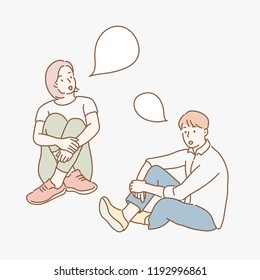 A woman and a male are sitting on the floor and talking. hand drawn style vector design illustrations.