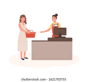 Woman at mall checkout flat vector illustration. Female customer with shopping basket standing in queue cartoon characters. Girl with purchases at cashier desk. Seller and buyer isolated on white.