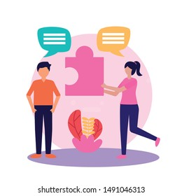 Woman and man avatar design, Teamwork support collaborative cooperation work unity and idea theme Vector illustration