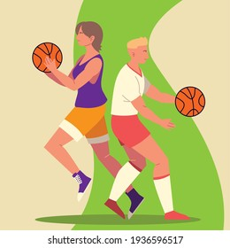 woman man basketball activity sport