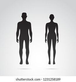 Woman and man body silhouette. Vector icons.