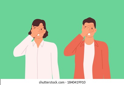 Woman and man closing eyes with palm gesture, looking through fingers, people refusing to watch, peeking. Turning blind eye cartoon concept. Vector illustration