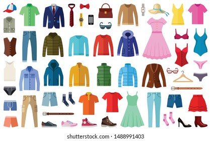 Woman and man clothes and accessories collection - fashion wardrobe - vector color illustration