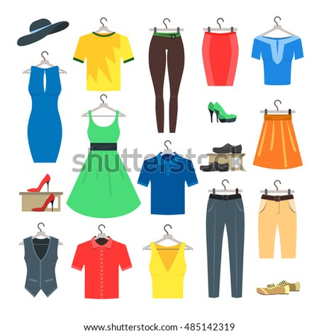 fce652e932d Woman Man Clothes Set Shirts Sweatshirts Stock Vector (Royalty Free ...