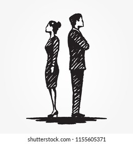 Woman and man concept sketch. The boss and the subordinate stand with their backs to each other. Vector hand drawn illustration.