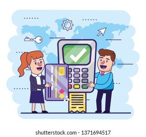 woman and man with credit card and dataphone