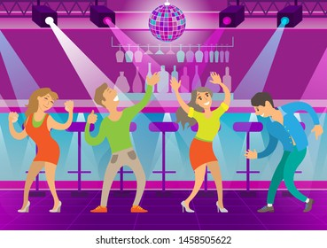 Woman and man dancing in club vector, nightlife of characters clubbing personage. Disco ball and spotlights, stage and music, evening relaxation style. Flat cartoon